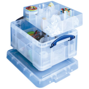 REALLY USEFUL 21L BOX WITH DIVIDERS CLR