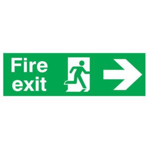 SIGN 150X450 FIRE EXIT R/M ARROW R PVC