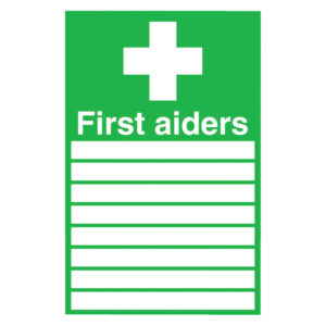 SIGN 300X200 FIRST AIDERS PVC