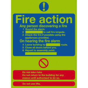 SIGN 300X250 FIRE ACTION STD NITEGLO