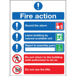 SAFETY SIGN FIRE ACTION SYMBOLS A4 SA