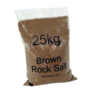 DRY BROWN ROCK SALT 25KG BAG