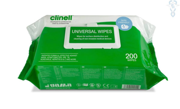 Clinell Univesal Wipes x 200.