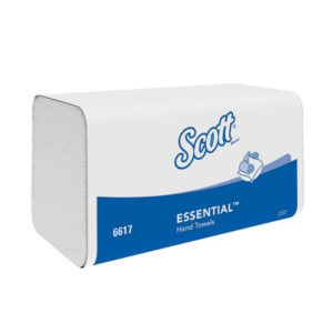 white interfold hand towels in Scott white and blue packaging