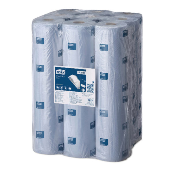 pack of 6 blue tork couch rolls.